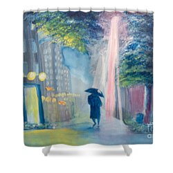 Shower Curtain featuring the painting Alone by Saundra Johnson