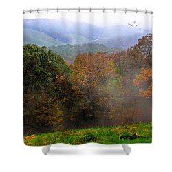 Shower Curtain featuring the photograph Along The Brp by Joan Bertucci
