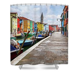 Along The Canal In Burano Island Shower Curtain by Evgeni Dinev