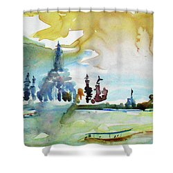 Along The Chao Phaya River Shower Curtain by Tom Simmons