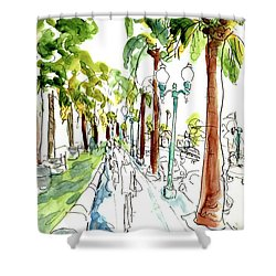 Along The Embarcadero At Justin Herman Plaza Shower Curtain by Tom Simmons