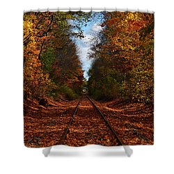 Along The Rails Shower Curtain by Tricia Marchlik