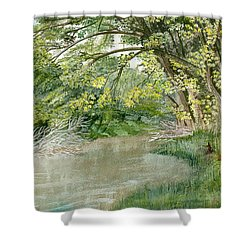 Shower Curtain featuring the painting Along The Susquehanna by Melly Terpening