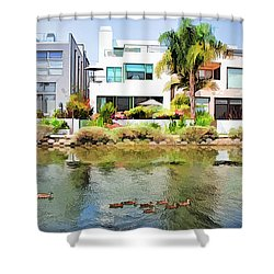 Shower Curtain featuring the photograph Along The Venice Canals by Chuck Staley