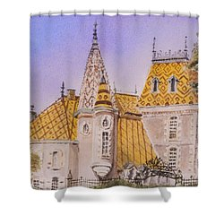 Shower Curtain featuring the painting Aloxe Corton Chateau Jaune by Mary Ellen Mueller Legault