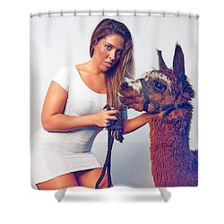 Shower Curtain featuring the photograph Alpaca Mr. Tex And Breanna by TC Morgan