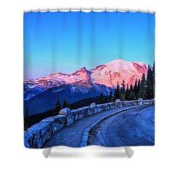 Alpenglow At Mt. Rainier Shower Curtain