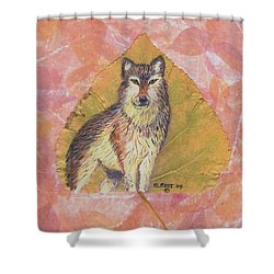 Alpha Male On Natural Leaf Shower Curtain