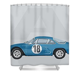 Shower Curtain featuring the mixed media Alpine A110 by TortureLord Art