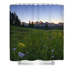 Alpine Dawn Shower Curtain by Mike  Dawson