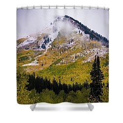 Shower Curtain featuring the photograph Alpine Loop Autumn Storm - Wasatch Mountains  by Gary Whitton
