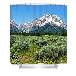 Alpine Meadow Teton Panorama Shower Curtain