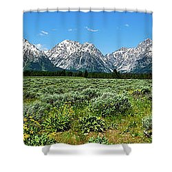 Shower Curtain featuring the photograph Alpine Meadow Teton Panorama II by Greg Norrell
