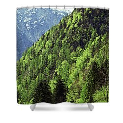 Alpine View In Green Shower Curtain by Brooke T Ryan