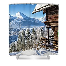 Alpine Winter Wonderland Shower Curtain