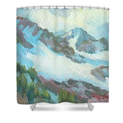 Shower Curtain featuring the painting Alps In Switzerland by Diane McClary