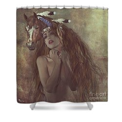 Alsoomse And Her War Horse Shower Curtain