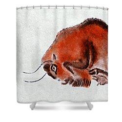 Altamira Prehistoric Bison At Rest Shower Curtain