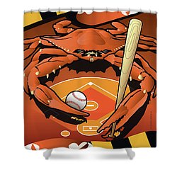 Baltimore Orioles Baseball Crab Maryland Shower Curtain