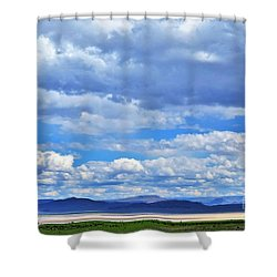 Sky Over Alvord Playa Shower Curtain by Michele Penner