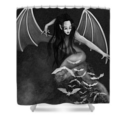 Always Awake - Black And White Fantasy Art Shower Curtain