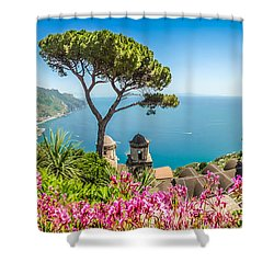 Amalfi Coast From Villa Rufolo Gardens In Ravello, Campania, Ita Shower Curtain