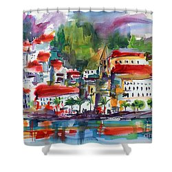 Amalfi Coast Italy Expressive Watercolor Shower Curtain by Ginette Callaway