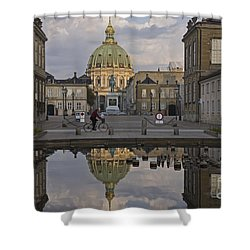 Shower Curtain featuring the photograph Amalienborg Castle And The Marble Church by Inge Riis McDonald