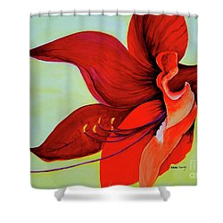 Shower Curtain featuring the painting Amaryllis Blossom by Rachel Lowry