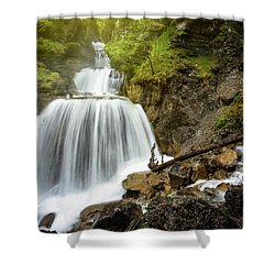 Amazing Mountain Waterfall Near Farchant Village At Garmisch Partenkirchen, Farchant, Bavaria, Germany. Shower Curtain