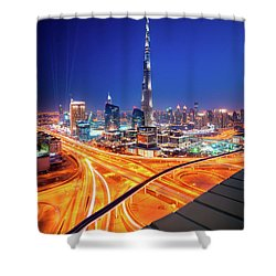 Amazing Night Dubai Downtown Skyline, Dubai, United Arab Emirates Shower Curtain
