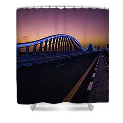 Amazing Night Dubai Vip Bridge With Beautiful Sunset. Private Ro Shower Curtain