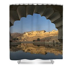 Shower Curtain featuring the photograph Amber Fort Reflection by Yew Kwang