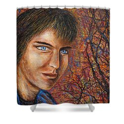 Shower Curtain featuring the painting Amber Glow by Natalie Holland