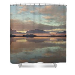 Shower Curtain featuring the digital art Salmon Lake Sunrise by Mark Greenberg