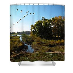 Amber Morning Shower Curtain by Cedric Hampton