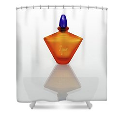 Shower Curtain featuring the photograph Amber Perfume Bottle by David and Carol Kelly