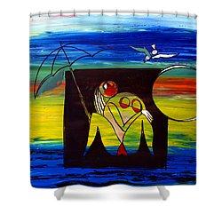 Ameeba 33-  Nude Woman Under Umbrella Shower Curtain
