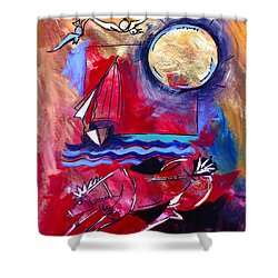 Ameeba 34-horse And Sailboat Shower Curtain