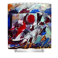 Ameeba 36-horses By The Sea 2 Shower Curtain
