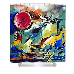 Ameeba 35-horses By The Sea Shower Curtain