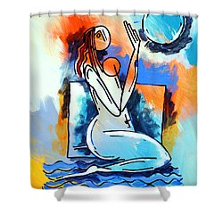 Ameeba- Nude Woman On Beach 5 Shower Curtain