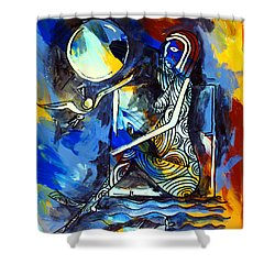 Ameeba- Nude Woman On Beach 6 Shower Curtain