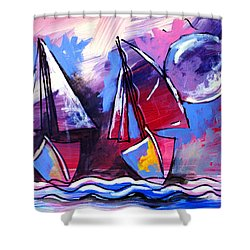 Ameeba- Sailboats 2 Shower Curtain