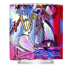 Ameeba- Woman And Sailboat Shower Curtain