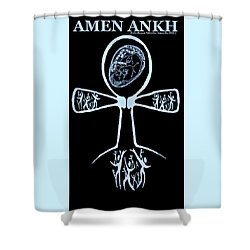Amen Ankh Indigo Shower Curtain