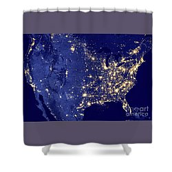 America By Night Shower Curtain by Delphimages Photo Creations