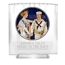 America Calls Enlist In The Navy Shower Curtain by War Is Hell Store