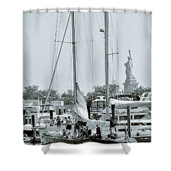 America II And The Statue Of Liberty Shower Curtain by Sandy Taylor