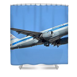 American Airbus A319-0112 N744p Retro Piedmont Pacemaker Phoenix Sky Harbor January 21 2016 Shower Curtain by Brian Lockett